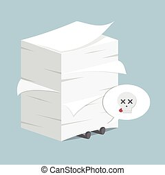 Businessman under the stack of paper, VECTOR, EPS10