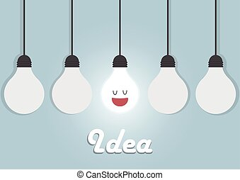 Hanging light bulbs with glowing one, Bright idea concept