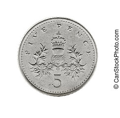 pennies coin isolated - 5 british pennies coin isolated on...