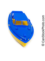 toy speedboat isolated on a white background