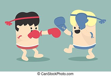 Thai boxing cartoon