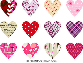 Trendy hearts pattern. Isolated on white