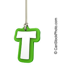 Green capital letter T hanging on rope with clipping path