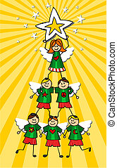 Children Christmas Tree over yellow background - Kids climb...