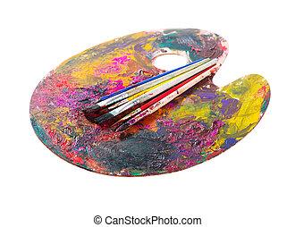 畫, 調色板, 刷子