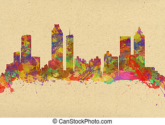 Watercolor art print of the skyline of Atlanta Georgia USA