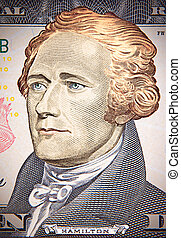 Mr. Hamilton, blond with green eyes (american dollar)