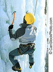 hielo, Montañismo, el, norte, Caucasus.,