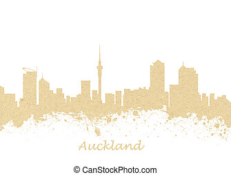 Auckland New Zealand Skyline - Watercolor art print of the...