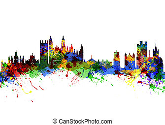 Cambridge England - Watercolor art print of the Skyline of...