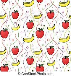 Apples and Bananas seamless pattern - Vector seamless...