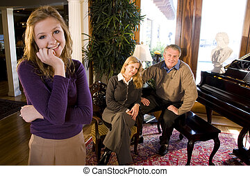 Teenager with parents
