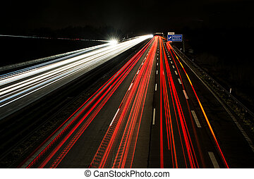 Light Trails on the Highway - Light trails on a german...