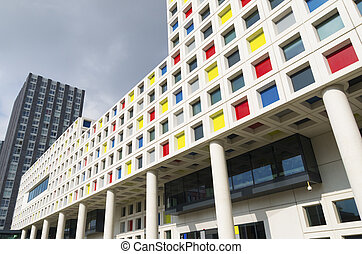 modern school building in the Hague, netherlands. The...
