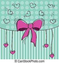 Greeting card with the bow