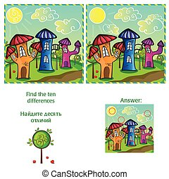 Visual Game - find 10 differences - with answer - vector...