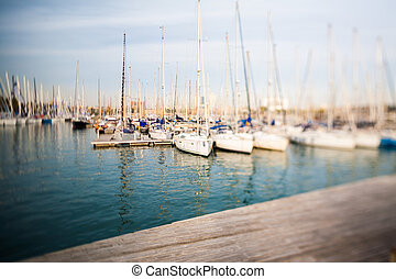 Barcelona harbor view with tilt-shift effect direct from...