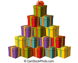 Gift boxes forming a Christmas tree - Colorful gift boxes...