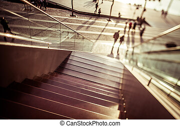 Maremagnum - Stairs of Maremagnum in Barcelona with...