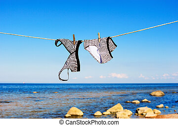 Female swimsuit hanging on a rope on a seashore