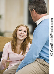 Father daughter chat - Father and teenage daughter talking...