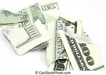 dollar bill - torn a hundred dollar bill