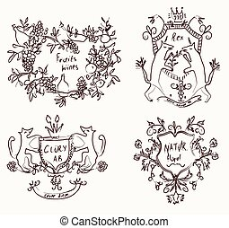 Coats of arms set - retro design in sketch style