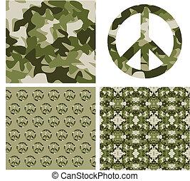 camuflado, paz, patchs