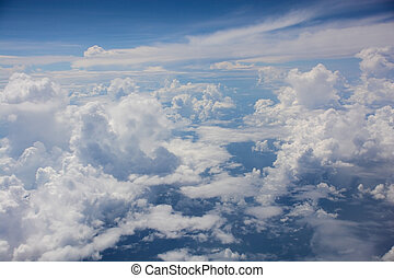 Aerial view of clouds on blue sky
