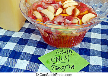 Brunch Punch - Sangria punch bowl with sign