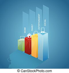 infographic colorful bar chart with cute icons