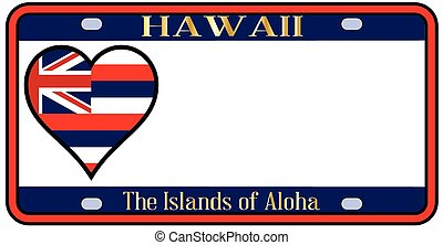 Hawaii State License Plate - Hawaii state license plate in...