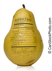 Pear Nutrition Facts printed on the skin of a pear.