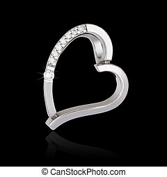 Silver diamond pendant in shape of heart