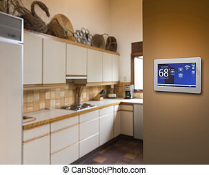 Programmable thermostat for temperature control on kitchen...