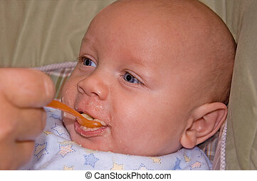 4 Month Old Baby Boy Eating Cereal - This cute, bald 4 month...