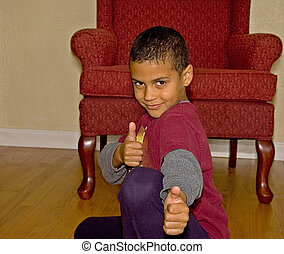 9 Year Old Bi Racial Boy Thumbs Up - This handsome 9 year...