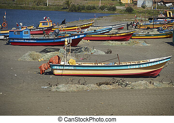Fishing Boats on the Beach - Colourfully painted wooden...