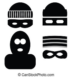 thief icons - illustration with thief icons on white...