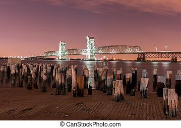 Marine Parkway-Gil Hodges Memorial Bridge at night - Marine...