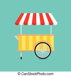 Retro vector ice cream cart on green background in flat...