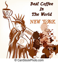 Coffee poster with statue of Liberty holding cup of coffee -...