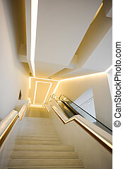 Linkage space, stair and escalator