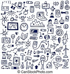 web, devices - doodles set - web, devices - set icons in...