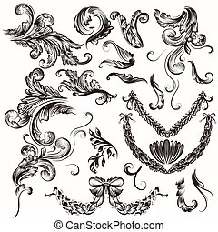Collection of antique hand drawn sw - Vector set of...