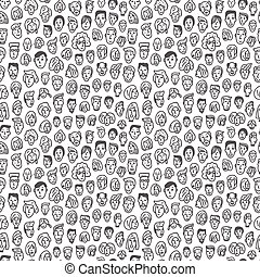 faces - seamless vector background - faces - seamless...