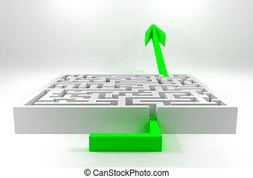 green arrow passing white maze career - green shiny arrow...