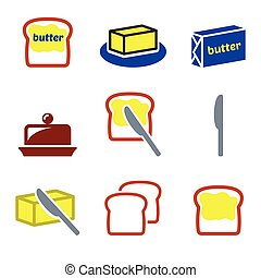 Butter or margarine vector icons se