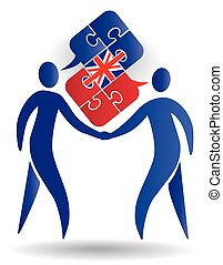 English Conversation - Two male silhouettes and Puzzle...