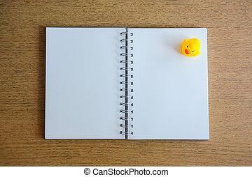 notatnik, i, Żółty, Kaczka, Na, drewno, tatuś,